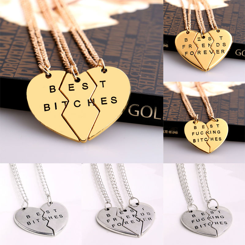 Bespmosp 2/<font><b>3</b></font> PCS Broken Heart Pendant <font><b>Necklace</b></font> Gold Silver Plated Best <font><b>Friends</b></font> <font><b>BFF</b></font> Women Men Statement Jewelry Friendship Choker image
