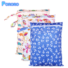 Pororo Double Pocket Wet Bag 30*40cm Waterproof Diaper Print Reusable Zippered Baby Diapers Bamboo Charcoal