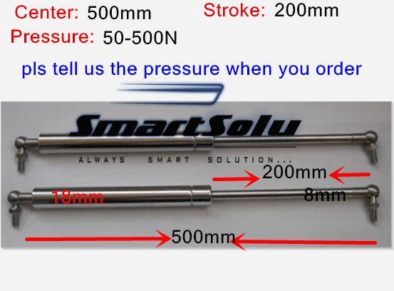 Free shipping 2pcs/lot 50 to 500N force 500mm central distance,200mm stroke,Gas Spring, Lift Prop Gas Spring DamperFree shipping 2pcs/lot 50 to 500N force 500mm central distance,200mm stroke,Gas Spring, Lift Prop Gas Spring Damper