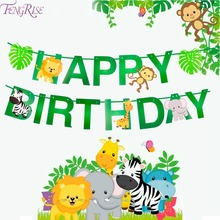 FENGRISE Happy Birthday Party Decorations Kids Banner Safari Jungle Animal Favors Baby Decoration