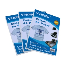 V-HONG brand A4 paper ironing heating sublime using pure cotton material heat transfer (20 sheets/lot)