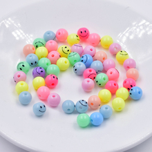 2017 hot sale 8MM 50pcs multi colors round beads for jewelry making smile print bead for DIY making accessory