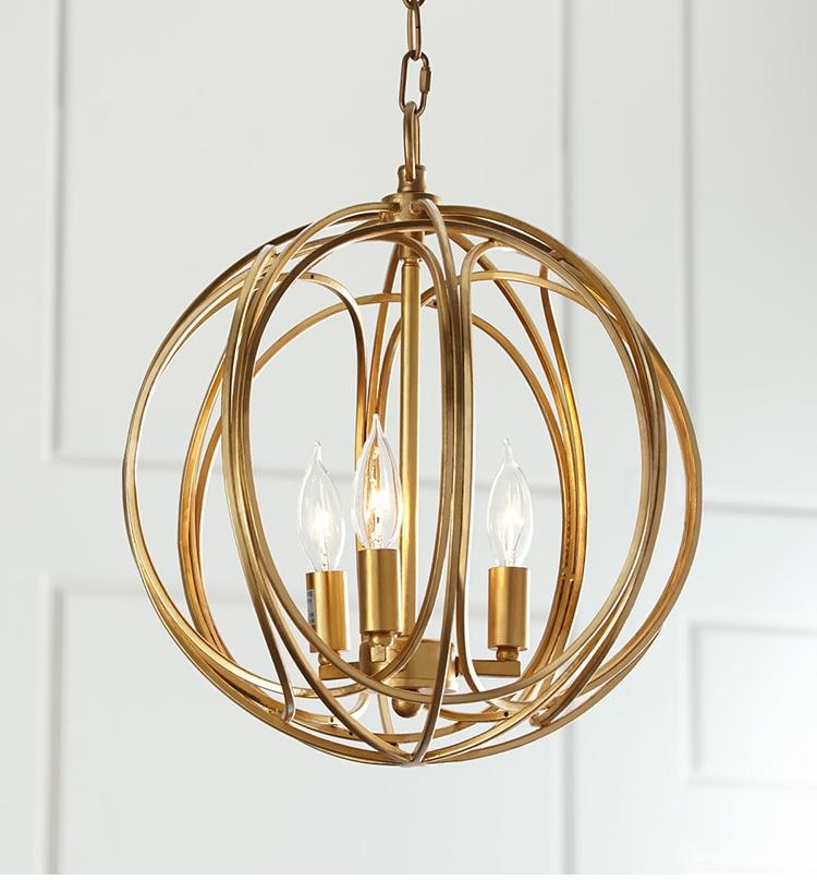 Fashion gold metel pendant lamp industrial style hanging light lampara techo lamparas de techo vintage retro industrial lighting