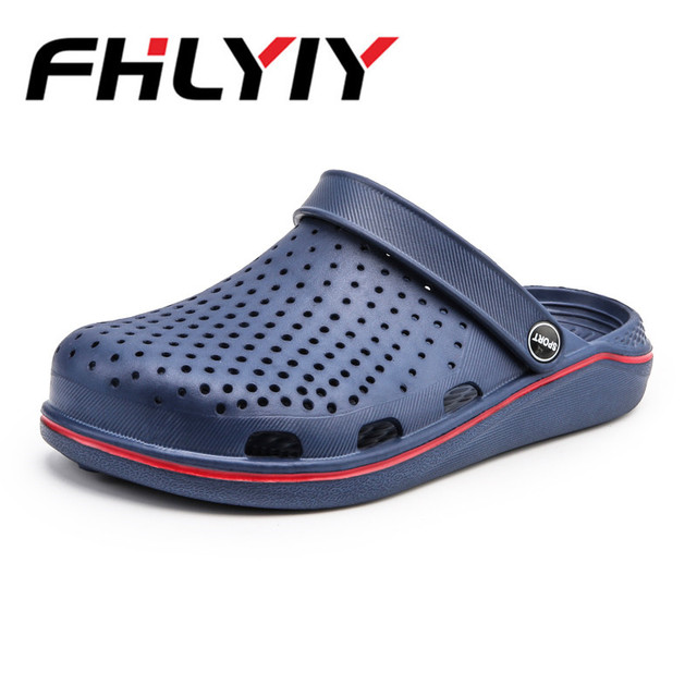 d7586296a9437 Men Summer Sandals Male Slippers Croc Beach Sandals Men Casual Slip On Flip  Flops Flat Hollow Breathable Shoes Outdoor Shoes