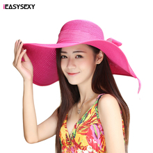 iEASYSEXY Brand 2016 Korean Style Summer Sunscreen Sunshade Straw Cap Fashion Spring Women Adult Casual Beach Hat With Bowknot