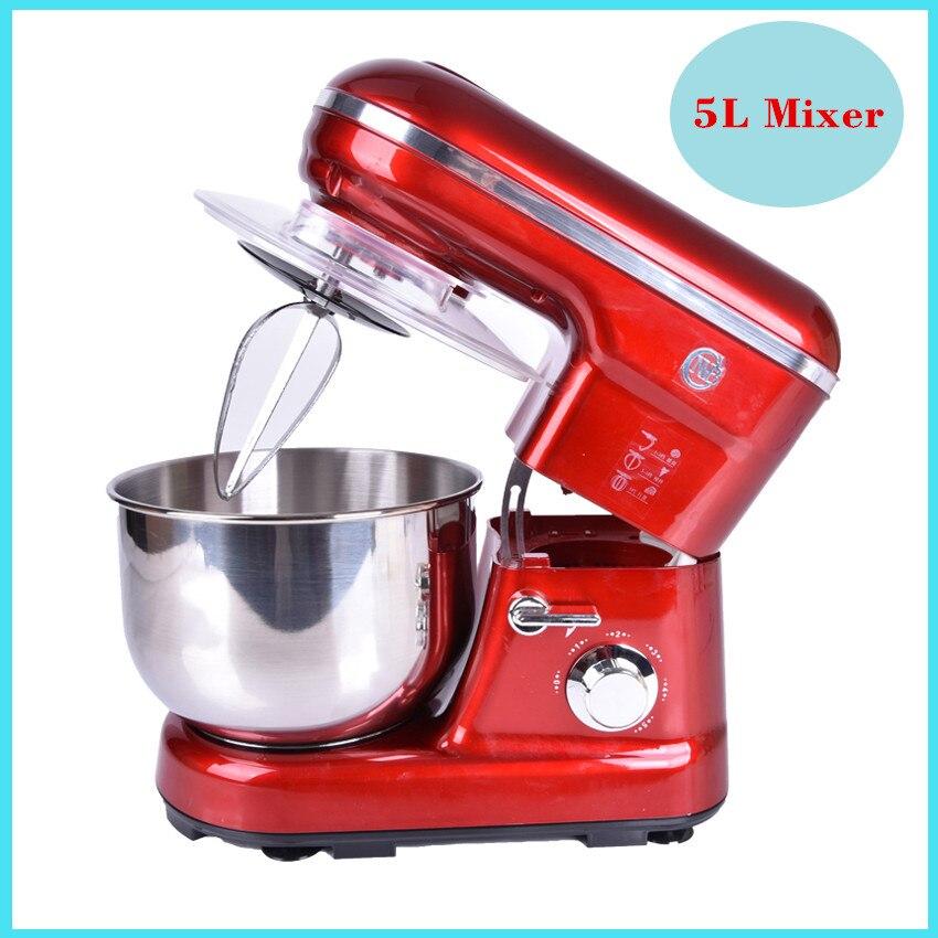 цена на 1PC 5 Liters electric stand mixer, food mixer, food blender, cake/egg/dough mixer, milk shakes, milk mixer