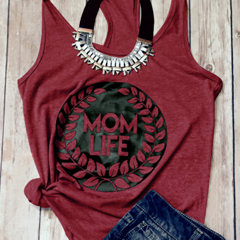 Summer Style Women tank tops mom Life Printed letter Sleeveless Casual Loose Female Tank Tops Shirts HO900619
