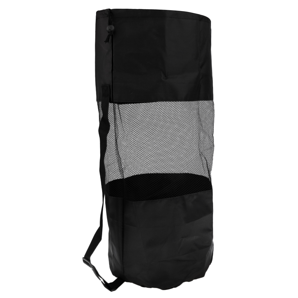 1 Pcs Heavy Duty Mesh Duffel Dive Bag Drawstring Storage Pouch For Scuba Diving Snorkeling Swimming Surfing Black