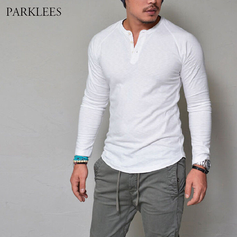 New Henley Shirt Men 2018 Long Sleeve Button Placket Mens T-shirt Casual Slim Fit Solid Color Hip Hop Tee Shirt Homme Camisetas