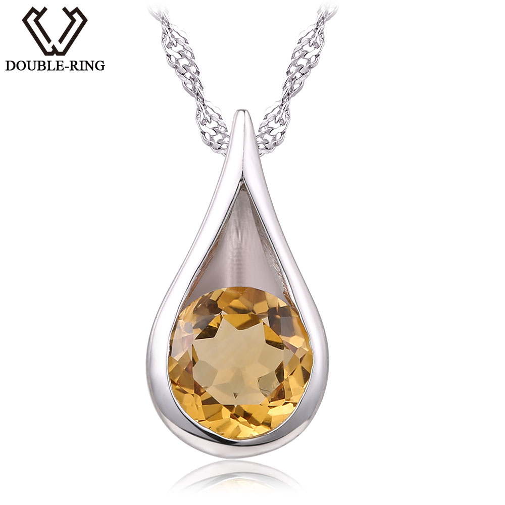 DOUBLE R 1 0ct Natural Citrine Water Drop Pendant Women 925 Silver Real Pendant Classic Female