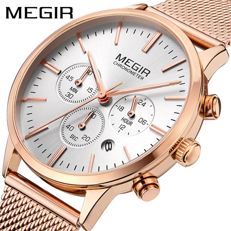 MEGIR Date Chronograph Women Watch Top Luxury Brand Lover Female Clocks Mesh Steel Classic Lady Watches Dress Business Clock Box-in Women's Watches from Watches on Aliexpress.com | Alibaba Group