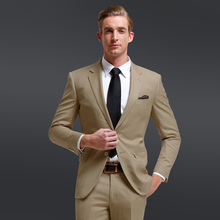 2016 New Custom Made Khaki Men's Wedding Suits Tuxedos Bridegroom Suits Groomsman Suit Formal Party Business Suits