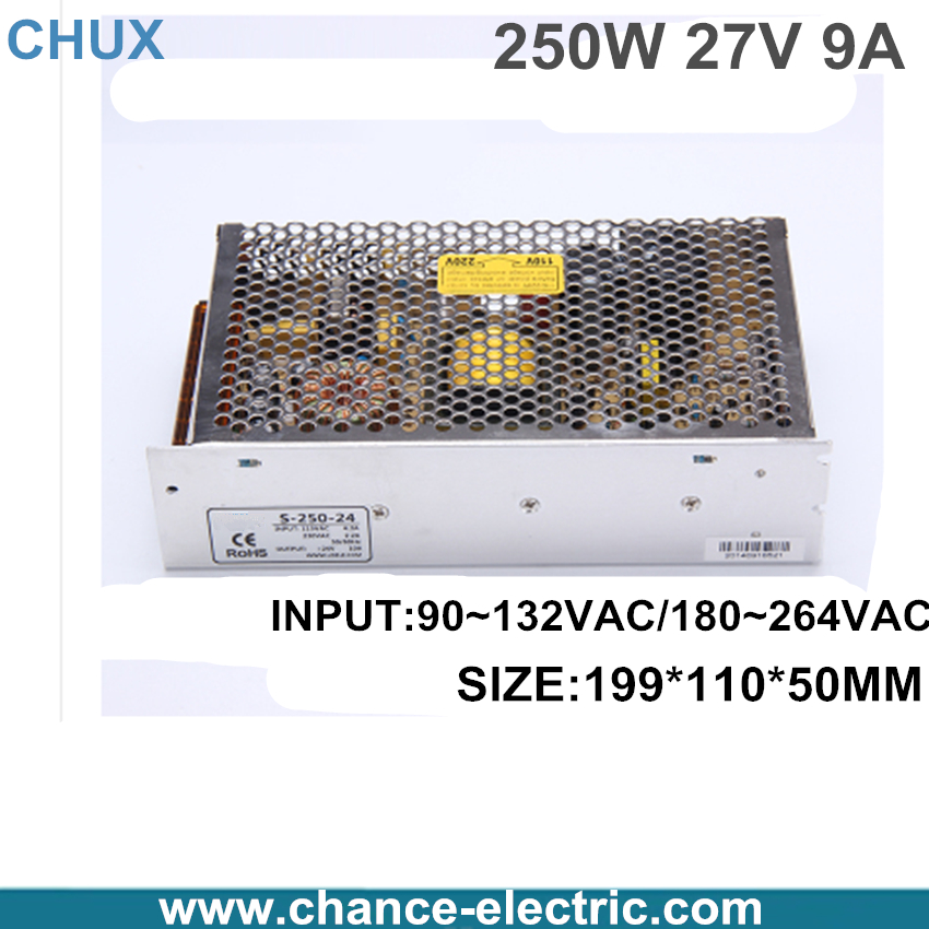 ФОТО 27v 9A Switching Power Supply AC to DC power supply  220v to 27v Adjustable voltage power supply  (s-250-27v) free shipping