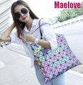 Maelove luminosa bolsa nuevo Vintage Mujer-mensajero-bolsas de holograma láser hombro noctilucentes geometría Lattic bolso envío gratis