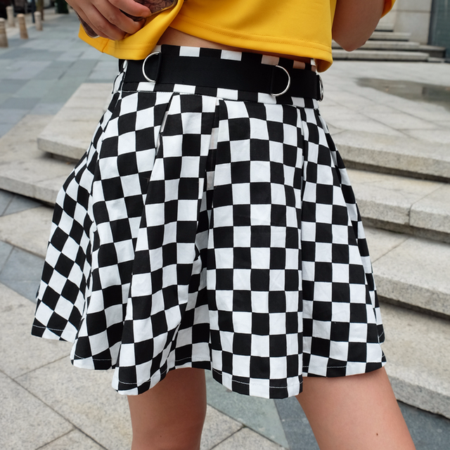 DICLOUD 2019 Pleated Checkerboard Skirts Womens Harajuku High Waisted Skirt Casual Dancing Korean Sweat Short Summer Mini Skirts 2