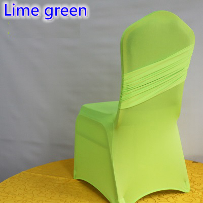 Lime Green Chairs For Sale Dicks Sporting Goods Colour Universal Lycra Chair Covers One Cross Cover Spandex Pleated Luxury Wedding Party Decoration On