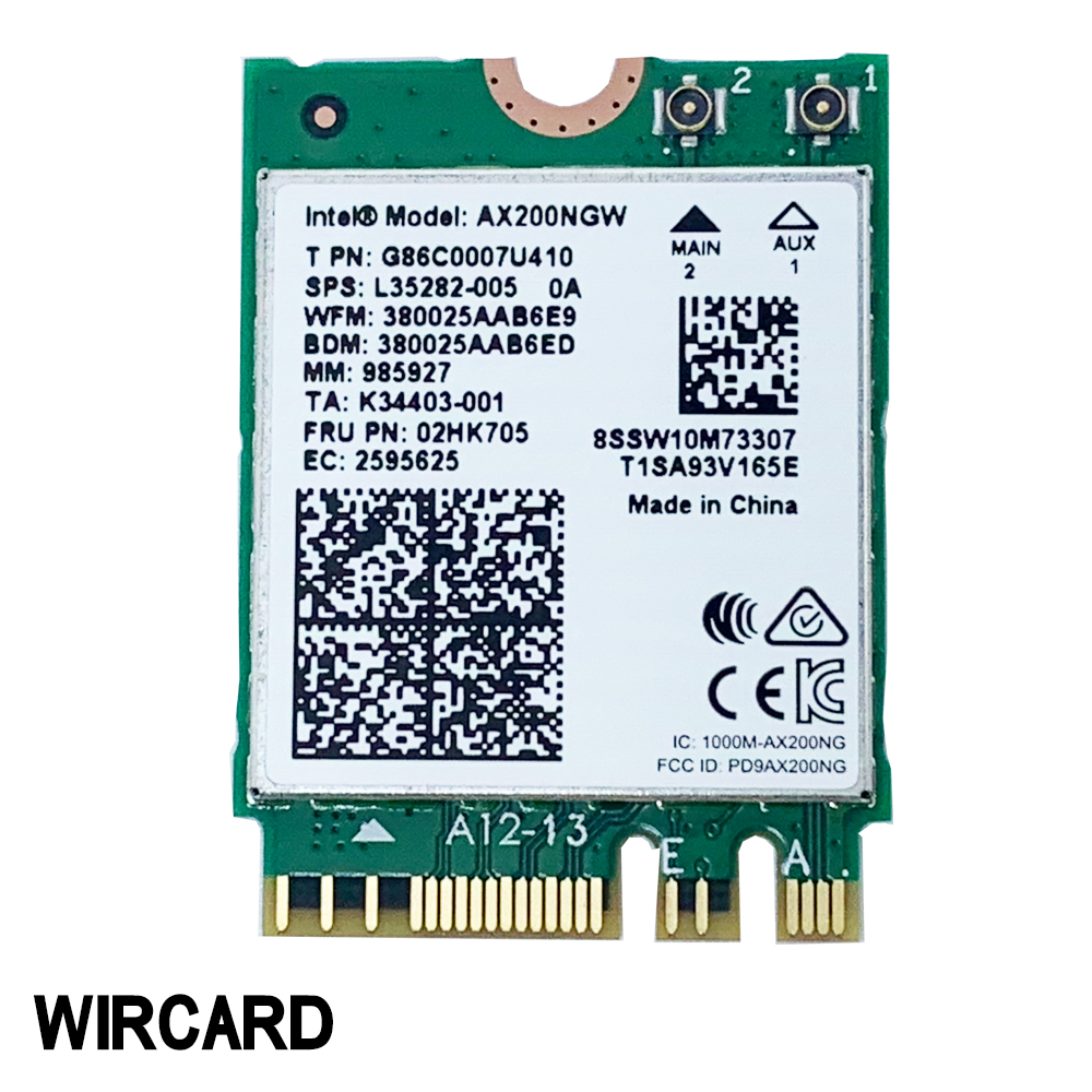 WIRCARD For Dual Band AX200 2400Mbps Wireless AX200NGW NGFF M.2 Bluetooth 5.0 Wifi Network Card 2.4G/5G 802.11ac/ax