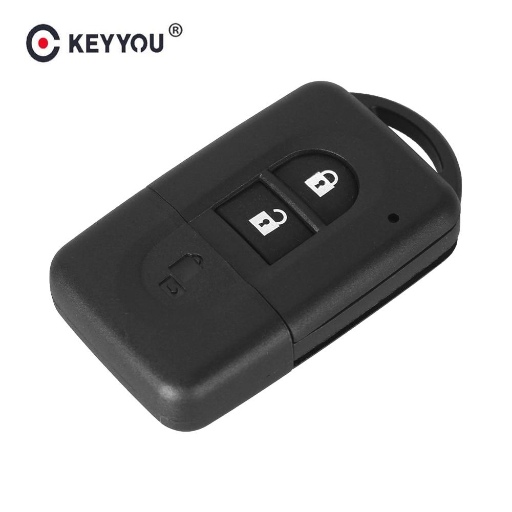 KEYYOU 10pcs Smart Key Replacement 2 Buttons Remote Car Key Shell Case For Nissan Micra Xtrail Qashqai Juke Duke Key Fob Cover