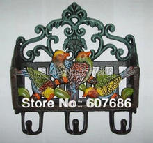 Antique Victorian Cast Iron Painted Birds Letter Rack Wall Shelf Wall Mounted Mail and Key Rack