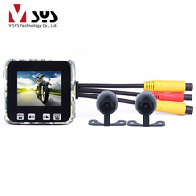 "Vsys M6 Super Capacitor Motorbike Dual Real Front Full HD 1080P + Rear 720P for Motorcycle DVR Dash Camera FHD 2.0"" Screen GPS"
