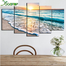 YOGOTOP 5 PCS Multi-picture Full,Square/ Round Diamond Embroidery,5D,diy Painting,Diamond Mosaic sea Wave decor ML652