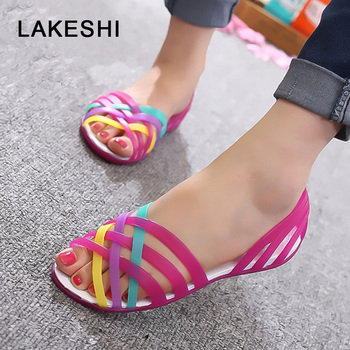 LAKESHI Women Sandals Summer Croc Jelly Shoes Peep Toe New Candy Color Beach Shoes Ladies Sandals Flat Casual Shoes Woman girl shoes in sri lanka