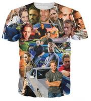 New Chegar Paul Walker Paparazzi T-Shirt The Fast and The furioso maravilhosas paul tee Roupas Da Moda Sexy Impressão 3D tshirt Top