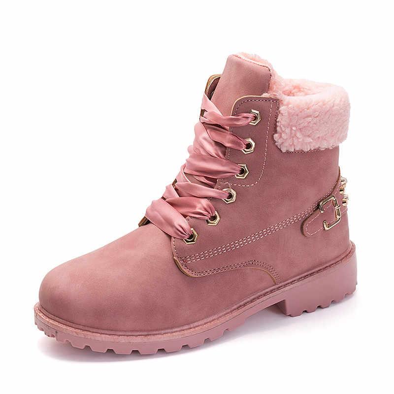 MORAZORA 2019 yeni kar botları kadın kış ayakkabı lace up perçin yuvarlak ayak düşük topuk platform botları su geçirmez yarım çizmeler kadın
