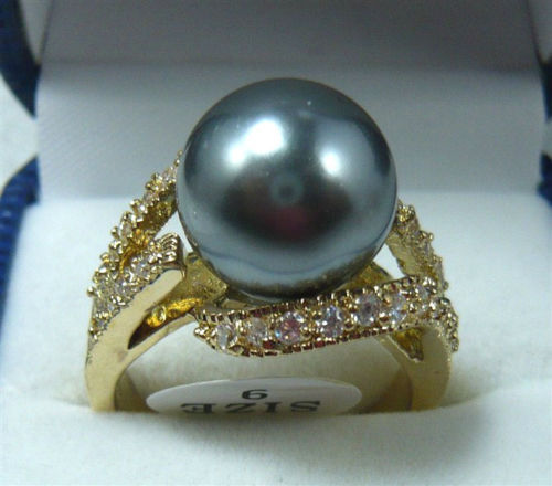 free shipping Noblest 12mm gray shell pearl GP ring(#6,7,8,9)