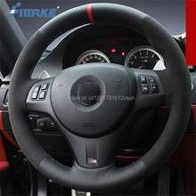 For BMW M3 High Quality Hand-stitched Anti-Slip Black Leather Suede Blue Thread DIY Steering Wheel Cover