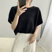 Fashion Women Knitwear Sexy Ladies Off Shoulder Top Summer Black Tshirt Light Loose Minimalist Knitted Short Sleeve Hot T Shirt
