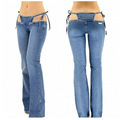 Сексуальная малоэтажных / пояс джинсы вспышки брюки горячей стринги в одной части брюки женщины наряд одежда клубные