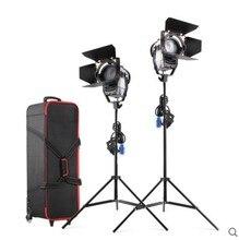 Затемнения Би-цвет 2 шт. LED100W СВЕТОДИОДНЫЙ Студия Френеля пятно Света 3200-5500 К + Свет Подставка + сумка для Студии видео