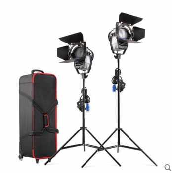 Dimmable bicolore 2 pièces 100 W Studio LED Fresnel Spot 3200-5500 K avec Support De Lumière et Roue sac de Transport pour Studio Photo Vidéo