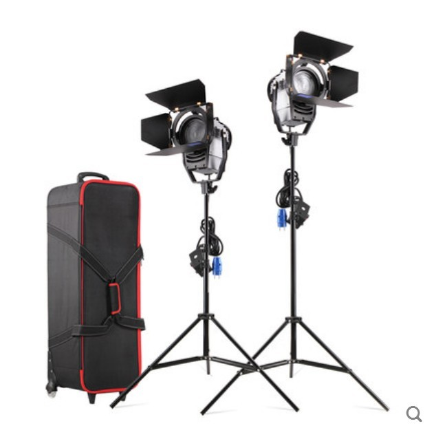 Regulável Bi-color 2 pcs 100 W LED Fresnel Estúdio Spot Light 3200-5500 K com Suporte de Luz e Roda Carry bag para Photo Studio vídeo