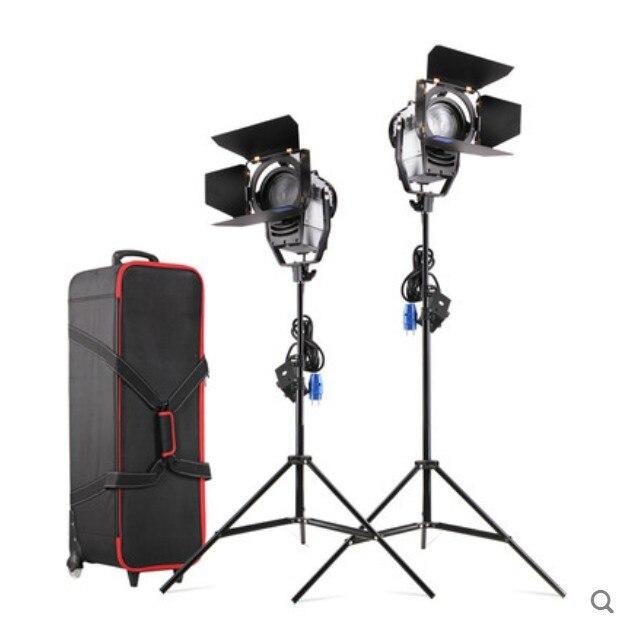 Regulável Bi-color 2 pcs 100 W LED Fresnel Estúdio Spot Light 3200-5500 K com Suporte de Luz e Roda Carry bag para Photo Studio vídeo