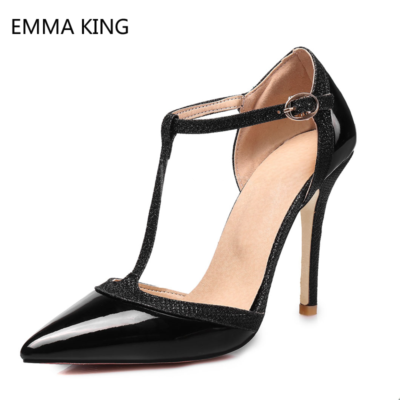 New Black High Heels Leather Shoes Women Stiletto Heels Simple Pointed Toe T Type Buckle Pumps Ladies Glittering Dress ShoesNew Black High Heels Leather Shoes Women Stiletto Heels Simple Pointed Toe T Type Buckle Pumps Ladies Glittering Dress Shoes