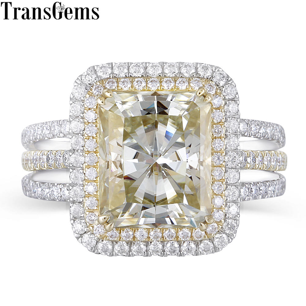 Transgems 14K 585 Two Tone Center 4.5ct 9X11mm Slight Yellow Radiant Cut Moissanite Double Halo Multiple Band Engagement Ring