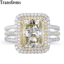 Transgems 14K 585 Two Tone Center 4.5ct 9X11mm Slight Yellow Radiant Cut Moissanite Double Halo Multiple Band Engagement Ring цена 2017