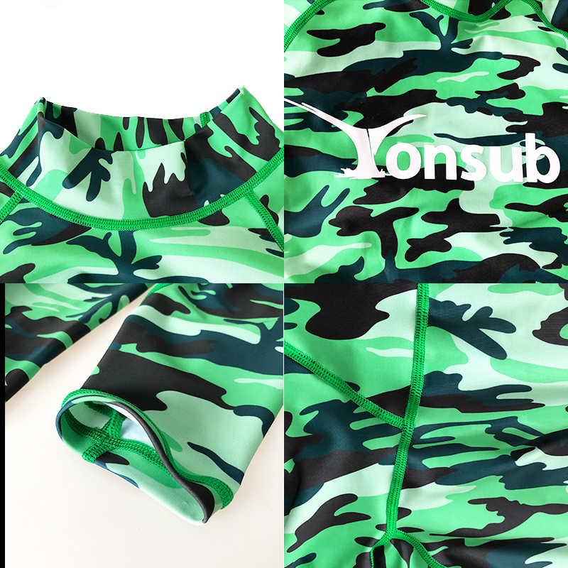 Camuflagem Rash Guard Wetsuit Maiô Longo-manga de Proteção Solar Surf Mergulho Terno de Natação Swimwear Dos Homens Medusa Terno