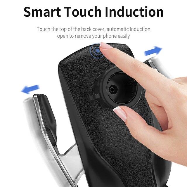Automatic Clamping รถไร้สายชาร์จ 10W Quick Charge สำหรับ Iphone 11 Pro XR XS Huawei P30 Pro Qi อินฟราเรด sensor ผู้ถือโทรศัพท์ 4