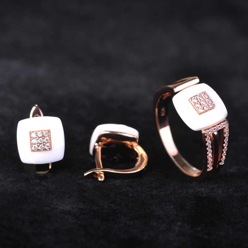 Blucome Brand Design Rose Gold Color Square Cubic Zircon Ceramic Earrings Ring Set Chinese Porcelain Women Wedding Jewelry Sets