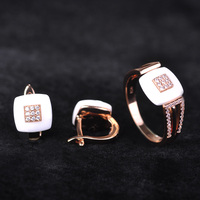 Brand Design Rose Gold Plate Square Jewelry Set Cubic Zircon Ceramic Earrings Ring Chinese Porcelain Women