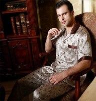 100% чистый шелк печати Для мужчин Рубашка с короткими рукавами длинные штаны пижамы короткий набор Размеры L, XL, XXL