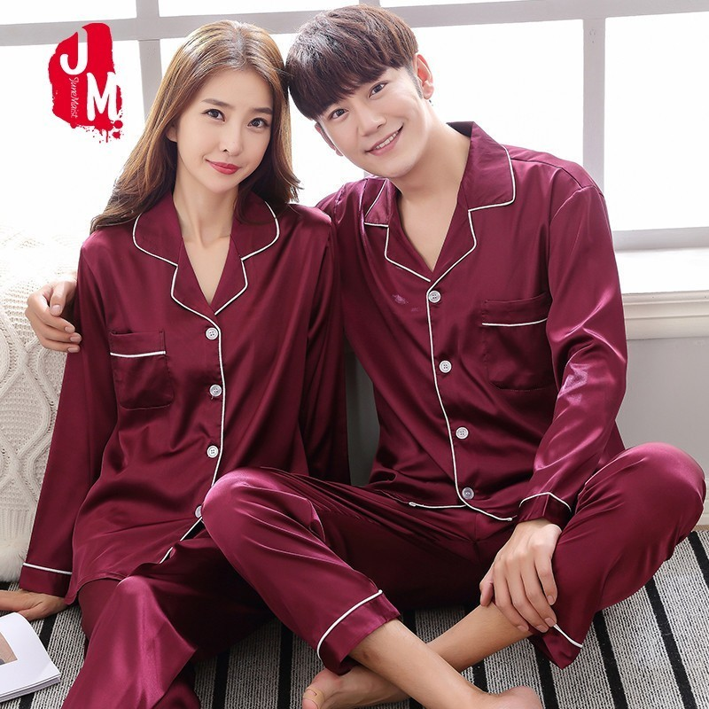 2018 Solid Satin Men Pajamas Set Summer Long Sleeve Autumn Homewear Silk Men Sleepwear Suit Casual Two-Piece Pyjamas Male L-XXXL