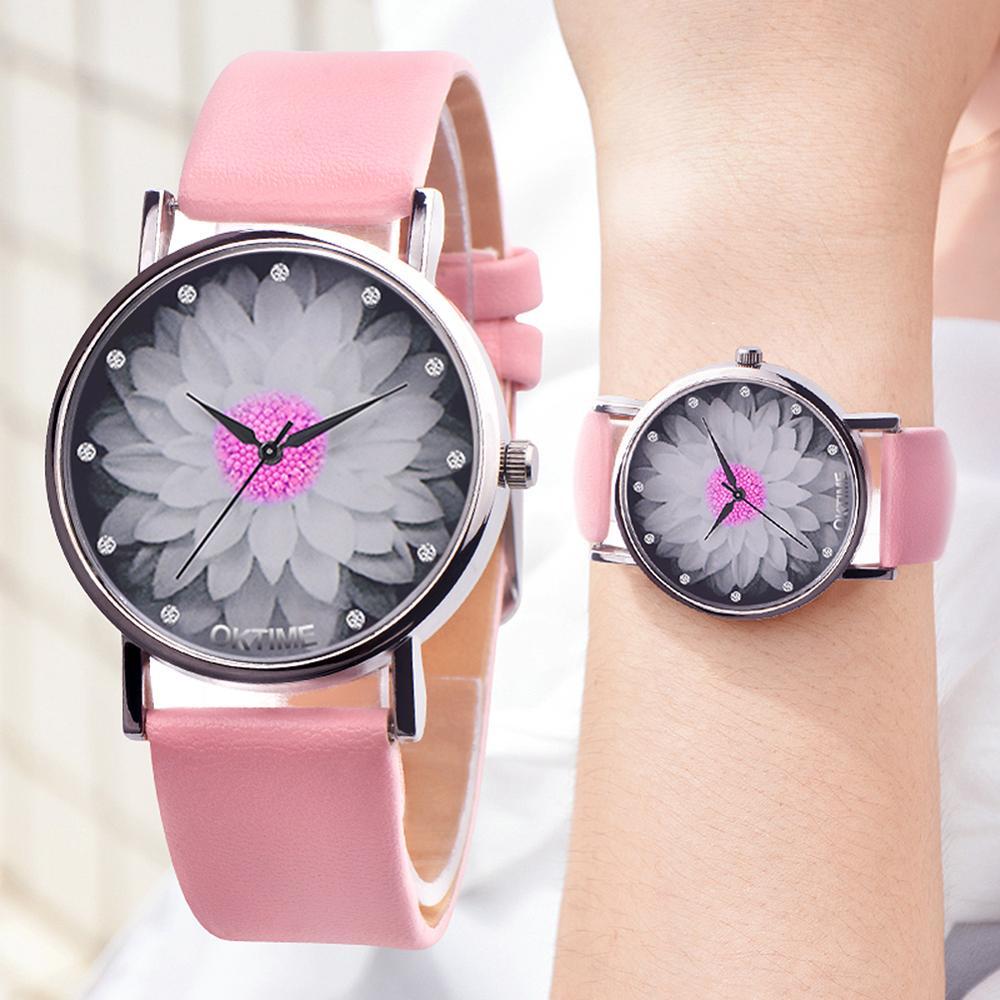 Girls Waterproof Quartz Watch Women Rhinestone Flower Print Dial Wristwatch Leather Quartz Watches Vintage Style Girl Watch