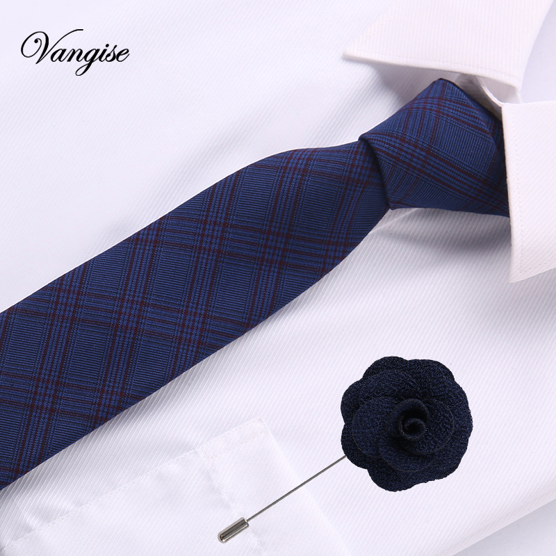 2018 Blue Cotton Ties For Men Striped/plaid 6.5cm Men's Neckties& Pin A Set Wedding Suit Neck Tie Red Black White Gravatas