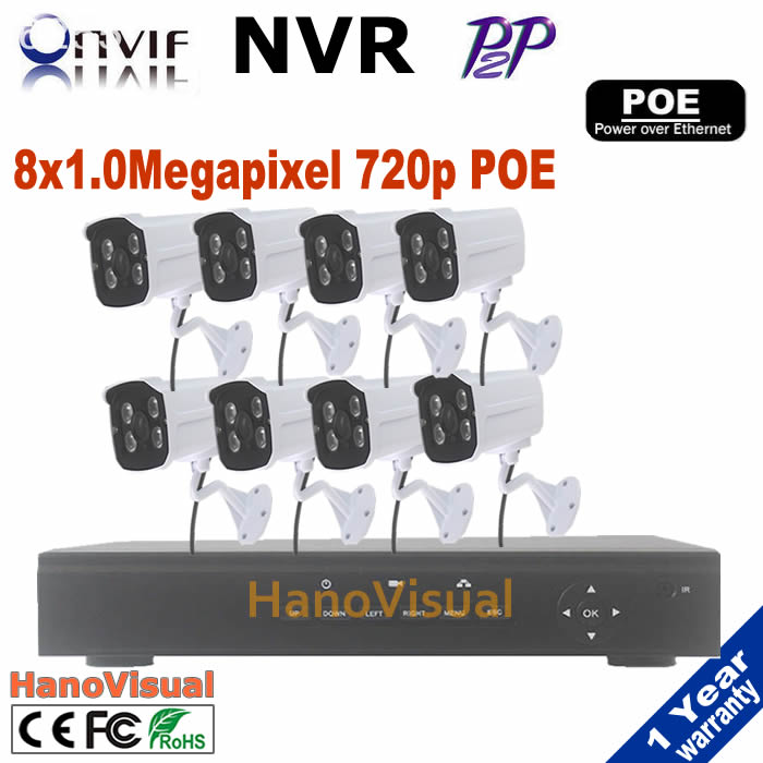 8CH POE NVR kit including 8pcs 1.0mp 720p bullet outdoor waterproof ip cams poe + 1080P Network Video Recorder ONVIF P2P poe nvr 16ch poe nvr 1080p 1 5u onvif poe network 16poe port recording hdmi vga p2p pc