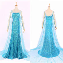 Elsa Queen Princess Adult Women Cocktail Party Dress Costume Elsa Dresses Blue Bling Snow Cosplay Dress(China)