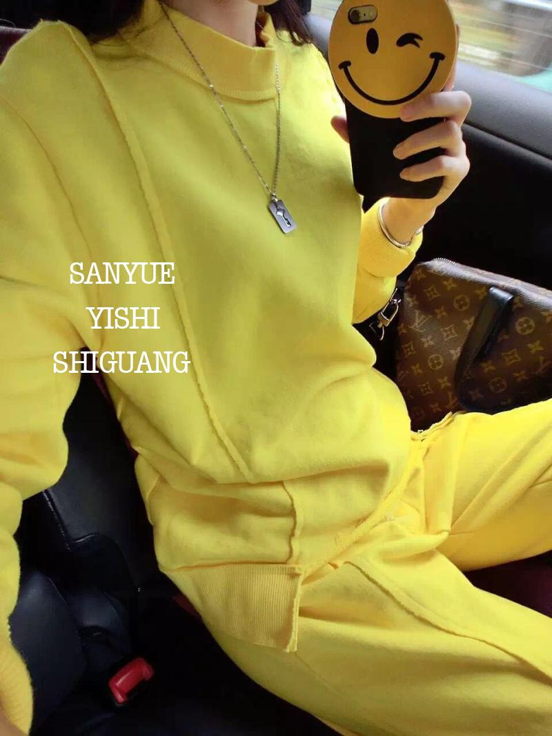 Crop Top Polaire cou Loisirs Jaune Costume Réel 2017 Coton Nouveau Le Lumineux Aucun Jupe Set Femmes Plein L'europe Et Marée O Yellow De aaYdw4xrq